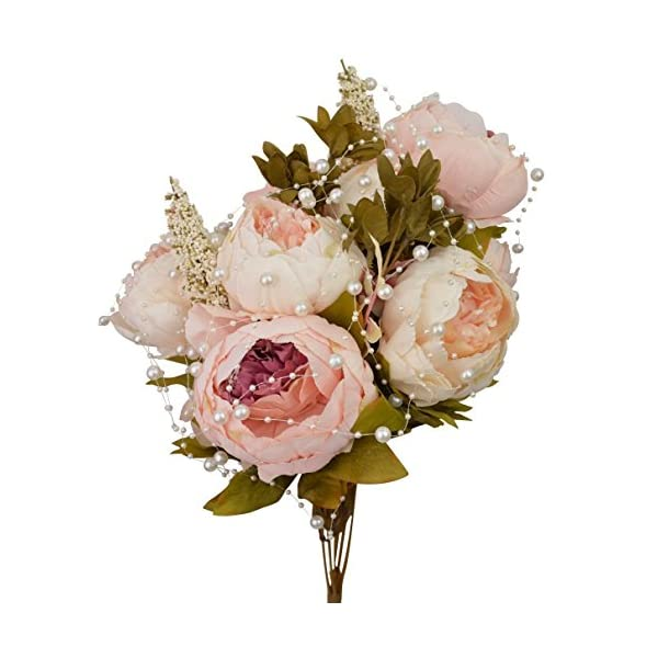 Hmxpls Vintage Artificial Peony Silk Flowers Bouquet, Craft Fake Flowers Floral Decor Glorious Moral for Home Dining-Table Hotel DIY Party Marriage Wedding Christmas Decoration (Light Pink)