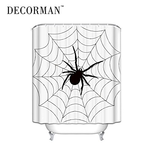 DECORMAN Custom Spider Web Halloween Shower Curtain 60