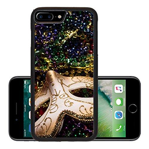 Luxlady Premium Apple iPhone 7 Plus Aluminum Backplate Bumper Snap Case iPhone7 Plus IMAGE ID: 26111871 Colorful Mardi Gras Mask with beaded (Carnavale Costumes)