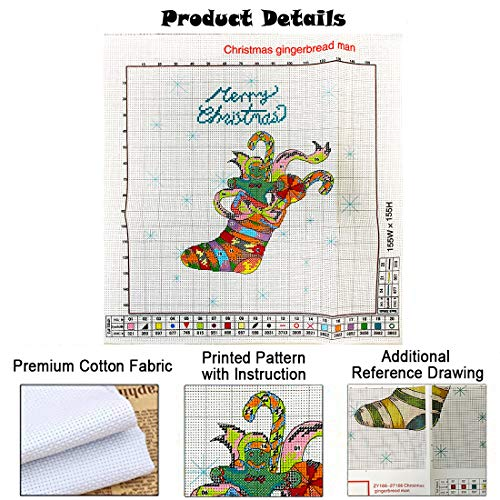 Counted Cross Stitch Kits for Adult Beginners and Kids Stamped Embroidery with Christmas Stocking Pattern Easy 14CT Needlepoint Starter Kit, for Home Decor and Xmas Gift - 13.8