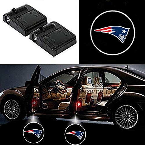 For New England Patriots Car Door Lights Universal Wireless Car Projection LED Projector Door Shadow Light Welcome Light Laser Emblem Logo Lamps Kit for All Brands Cars by FLYEEGO