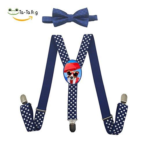 Fantasy Sunbathe Dog Adjustable Y-Back Suspender Custom Unisex Gallusus with Wave Point Bow (Fantasy Custom Costumes Co)
