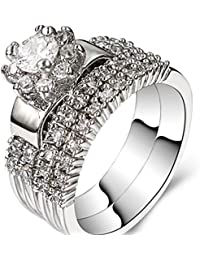 Platinum Plated Wedding Engagement Ring Bridal Set Halo Anniversary Propose (Silver, 4)
