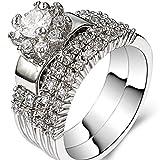 Platinum Plated Wedding Engagement Ring Bridal Set Halo Anniversary Propose (Silver, 9)