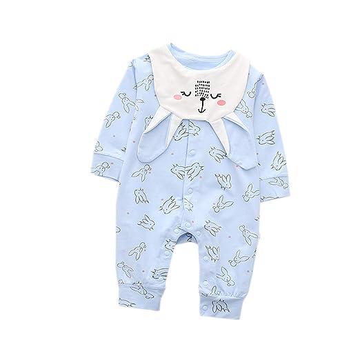 HUHUXXYY Infant Baby Boys Girls Romper Cartoon Bunny Sleeper Pajamas with  Bib Size 6-9M 73af562ce
