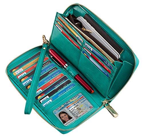 Chelmon Womens Wallet Geunine Leather RFID Blocking Purse Credit card Clutch (wax green)