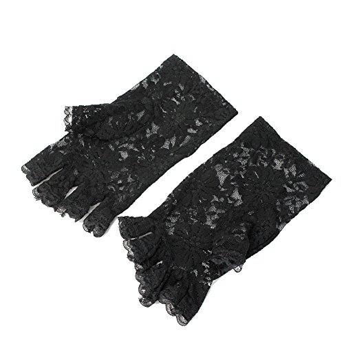 Girls Ladies Graceful Sexy Black Lace Party Costume Gloves Finger Fingerless New -