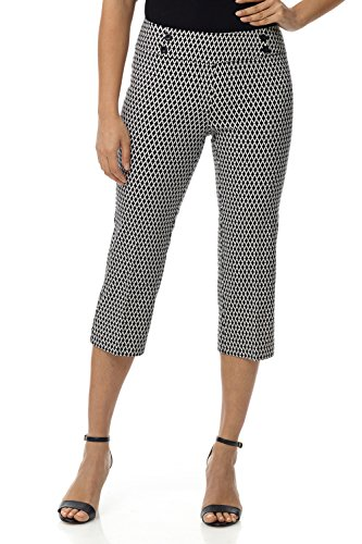 Rekucci Women's Ease in to Comfort Fit Capri with Button Detail (4SHORT,Black Ivory Diamond)