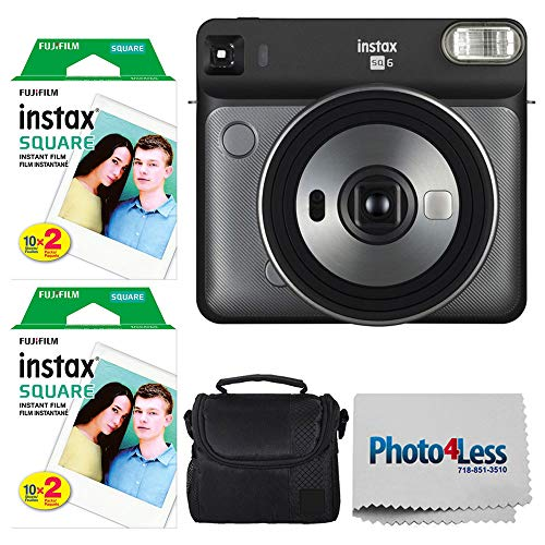Fujifilm instax Square SQ6 Instant Film Camera (Graphite Grey) + Fujifilm instax Square Instant Film (40 Exposures) + Small Digital Camera/Video Case + Photo4Less Camera and Lens Cleaning Cloth