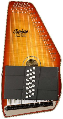 Oscar Schmidt OS110-21FHSE 21 Chord Flame Maple Autoharp with Fine Tuning System and Pickup - Honey Sunburst by Oscar Schmidt