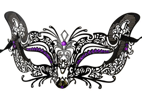 Laser Cut Venetian Halloween Masquerade Mask Costume Cat/Feline Inspire Designs - Black w/ Purple Rhinestones by KBMasks