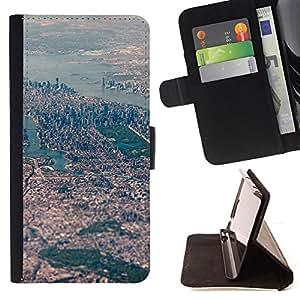 BIG CITY RIVER AERIAL VIEW LANDSCAPE/ Personalizada del estilo del dise???¡Ào de la PU Caso de encargo del cuero del tir????n del soporte d - Cao - For HTC One M8