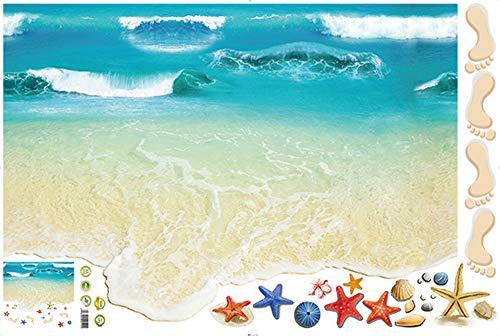 Clearance Sale!UMFun3D Beach Floor Wall Sticker Removable Mural Decals Vinyl Art Living Room Decor ()