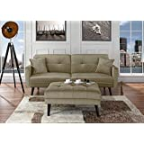 Mid-Century Modern Brush Microfiber Futon Sofa Bed, Living Room Sleeper Couch (Beige)