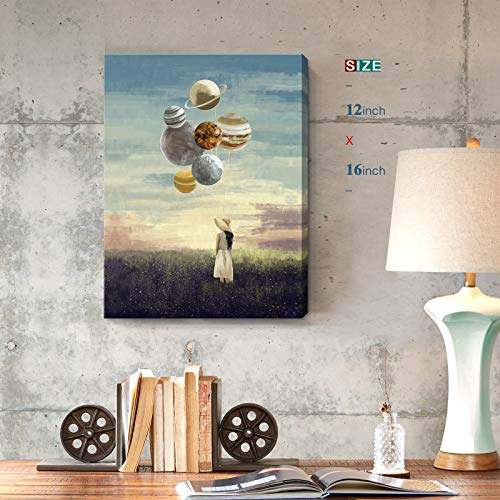Inspirational Wall Art for Office Modern Motivational Canvas Print Girl Holding Planet Picture Creative Framed Artwork for Bedroom Living Room Decoration 12x16inch