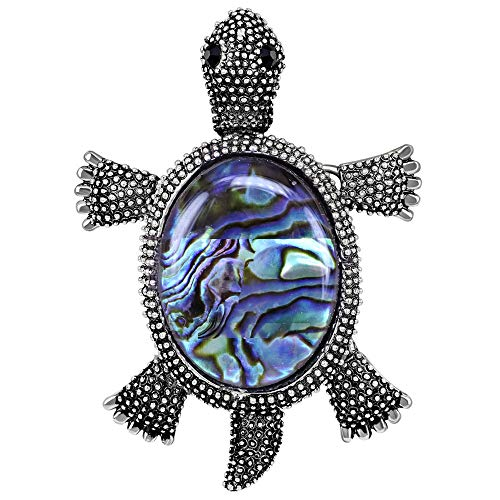 Stylebar Sea Turtle Brooch Pendant for Women Girls Retro Animal Brooches Crystal Broaches Abalone Shell Vintage Silver - Brooch Shell