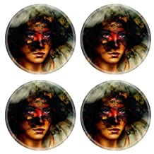 Luxlady Natural Rubber Round Coasters Image ID: 41946377 woman portrait with ornament tattoo on face and feathers jewels And fire clouds background