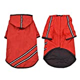 PAWZ Road Reflective Dog Raincoat Lightweight Pet Rainwear Clothes for Small Medium Large Dogs and Cats,Hooded Rain Jacket Outdoor with Magic Tape Closure Red XL