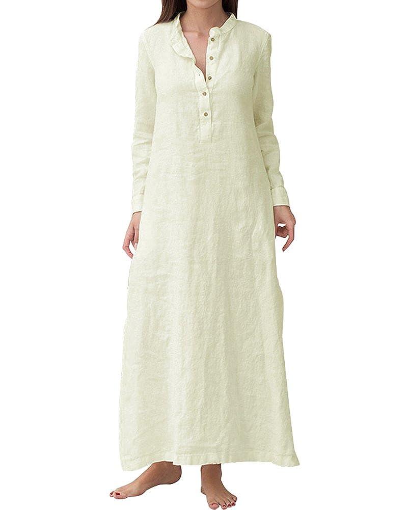 e857a094d9 YOUBENGA Women s Plus Size Long Sleeve Cotton Linen Split Kaftan Maxi Dress  S-3XL at Amazon Women s Clothing store