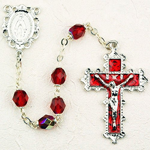 6mm Ruby Crystal Rhodium Rosary. Rhodium Miraculous Center and Crucifix. Deluxe Gift Box Included.