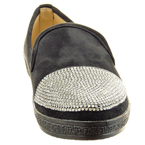 Sopily - Zapatillas de Moda Bailarinas Tobillo mujer strass Talón Tacón ancho 2 CM - Negro