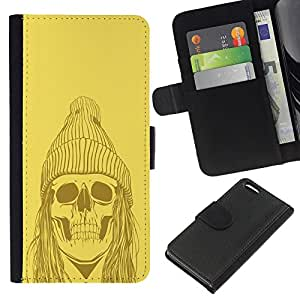Planetar® Colorful Pattern Flip Wallet Leather Holster Protective Skin Case Cover For Apple iPhone 5C ( Yellow Punk Hippie Skull )