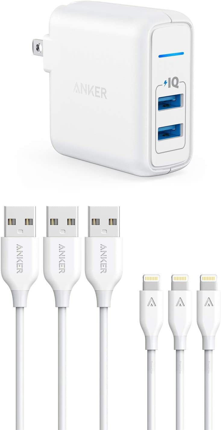 iPhone Charger, Anker 24W 2-Port USB Wall Charger with 3 Pack 3ft Apple MFi Certified Lightning Cables, for iPhone SE / 11/11 Pro / 11 Pro Max/XS/XS Max/XR/X / 8, iPad and More