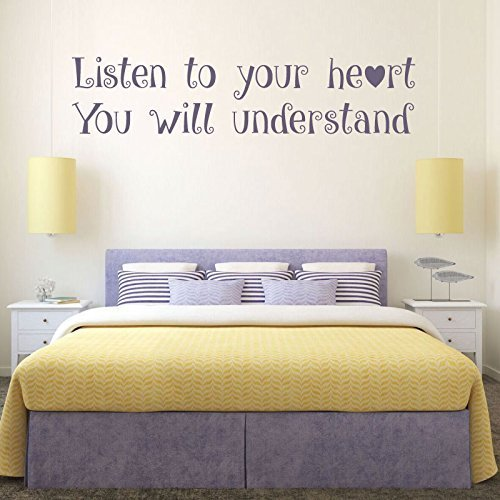 - Quote Wall Decals, Listen to Your Heart, Vinyl Wall Decals, Teenage Girls Room Decor, Master Bedroom Wall Art, Pocahontas, Friendship Gift