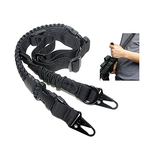 550 Paracord Gun Sling Rifle Sling 2 Point Sling Rifle Strap Removable Paracord Survival Strap Metal Clips Adjustable Length (Quick Adjust HK Hooks - Tactical Point Rifle 3 Sling