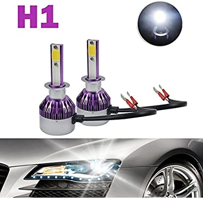 H1 LED Headlight Bulbs 12000LM 120W Cool White 6000K COB Chips - High  Beam/Low Beam/Fog Light Replacement Super Bright All-in-One Conversion Kit  Plug