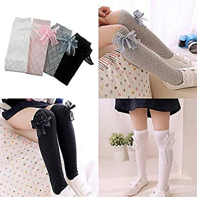 shengyuze Kids Girls Fashion Cotton Socks School Knee High Gridding Bow Dance Stockings for Baby Girls Todder