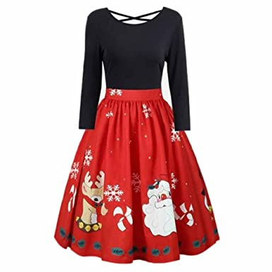 POTO Christmas Dresses Plus Size,Womens Long Sleeve Christmas Printed Evening Party Dress Prom Swing