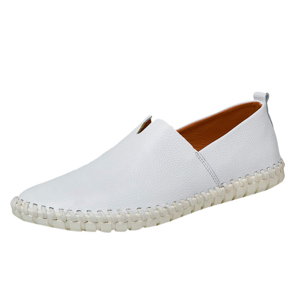 Men's Leather Loafers Non-Slip Casual Fashion Driving Boat Formal Business Shoes (US:9, White) by Yihaojia Men Shoes