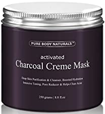 Pure Body Naturals Activated Charcoal Creme Face Mask, 8.8 Ounce