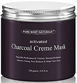 Activated Charcoal Face Mask, Charcoal Facial Mask Treatment Mud Mask - Improved Formula - 8.8 fl. oz. by Pure Body Naturals