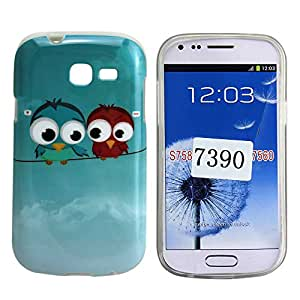 Harryshell Shatterproof Soft TPU Protective Back Case Cover with Cute Owl Design for Samsung Galaxy Trend Lite S7390 Gt-S7392 with Free Screen Protector and Stylus Pen (002)