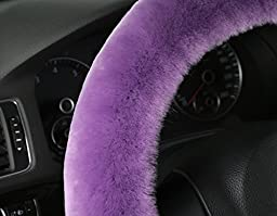 U&M Warm Winter Wool Sheepskin Stretch-on Vehicle Steering Wheel Cover Car Wheel Cushion Protector Available for 35cm-43cm Steering Wheel in Diameter