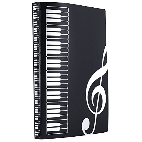 Music Sheet File Paper Documents Storage Folder 40 Pockets Holder (Black)