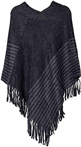 styleBREAKER poncho in maglia fine a righe con frange, scollo a V, invernale, donna 08010049 Nero - Blu Scuro