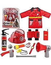 deAO wasbare brandweerman kostuumset met 13 accessoires brandweer speelgoed, opbergrugzak en blusapparaat voor echt water - geweldig voor kinderen