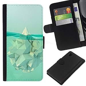 A-type (Iceberg Calentamiento Significado Polígono) Colorida Impresión Funda Cuero Monedero Caja Bolsa Cubierta Caja Piel Card Slots Para Sony Xperia Z1 L39