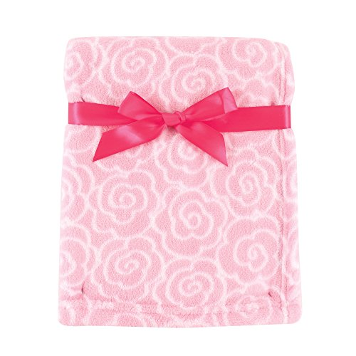 Luvable Friends Print Coral Fleece Blanket, Pink Rose (Rose Fleece Blanket)