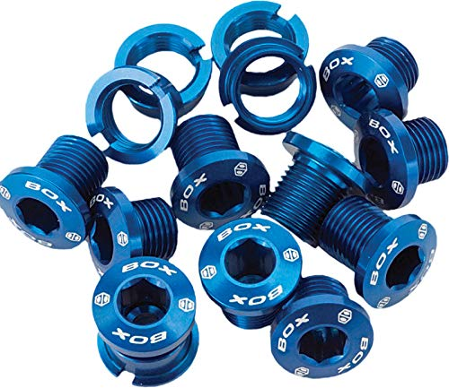 Box Components Blue Alloy Chain Ring Bolts Box Kit Size 6.5 and 8.5mm BX-CR15ALBLT-BL
