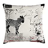 Ambesonne Grunge Decor Throw Pillow Cushion Cover by, Modern Textured African Safari Animal Zebra on Retro Typographic Background, Decorative Square Accent Pillow Case, 18 X 18 Inches, Black Cream
