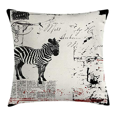 - Ambesonne Grunge Decor Throw Pillow Cushion Cover by, Modern Textured African Safari Animal Zebra on Retro Typographic Background, Decorative Square Accent Pillow Case, 16 X 16 Inches, Black Cream