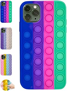 Fidget Toys Phone Case, Fidget Pop It Phone Case, Push Pop Bubble Protecive Case for iPhoneX,XS,XS Max,XR, iPhone 11,11pro,12,12Pro 12Pro Max Relieve Anxiety Autism (iPhone11 Pro Max, Multicolor 3)