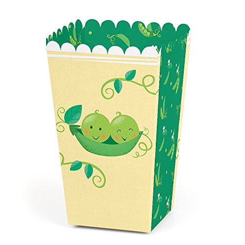 (Double The Fun - Twins Two Peas in a Pod - Baby Shower or First Birthday Party Favor Popcorn Treat Boxes - Set of 12)