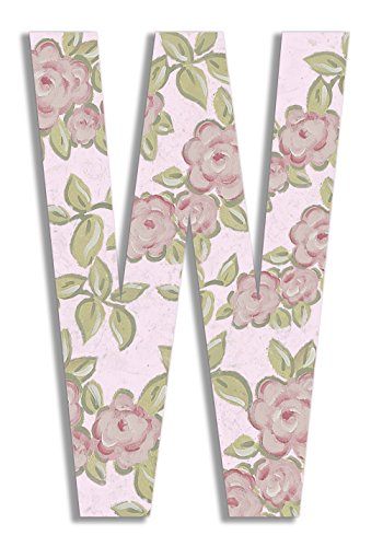Stupell Home Décor Pink Roses on Pink 18 Inch Hanging Wooden Initial, 12 x 0.5 x 18, Proudly Made in USA]()