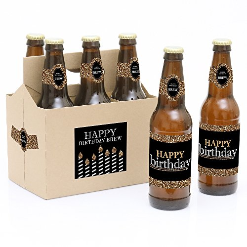 Adult Happy Birthday - Gold - Birthday Party Decorations for Women and Men - 6 Beer Bottle Label Stickers and 1 Carrier