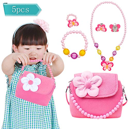 - YANSION Girls Cute Plush Purses with Necklace Bracelet Ring and Earring Jewelry Set My First Purse for Little Girls Dress up and Role Play
